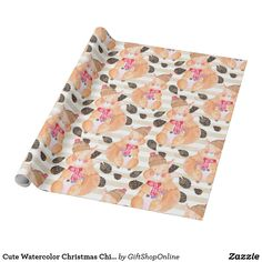 Cute Watercolor Christmas Chimpmunks Patterned Wrapping Paper