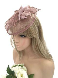 Stunning Nude Colour Bow Feather Mesh Hat Fascinator Headband Races Wedding