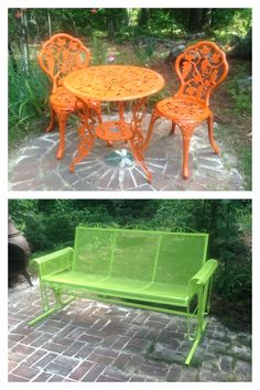 Spray paint rod iron yard furniture for a bold, modern look! If you decide you want to traditional look later you can always just spray paint it black again