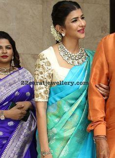 Lakshmi Manchu at Soundrya Rajinikanth Wedding Wedding Saree Blouse Designs, Pattu Saree Blouse Designs, Blouse Designs Silk, Designer Blouse Patterns, Simple Blouse Designs, Stylish Blouse Design, Lakshmi Manchu, Celebrity Jewelry, Blue Saree