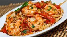 Shrimp Linguine in a Tomato Sauce. Shrimp Linguine in a Tomato and White Wine Sauce Shrimp Linguine, Seafood Pasta, Seafood Dishes, Pasta Dishes, Seafood Recipes, Pasta Recipes, Cooking Recipes, Healthy Recipes, Recipe Pasta