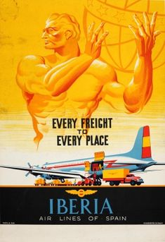Iberia Airline Freight Constellation, 1950s - original vintage poster listed on AntikBar.co.uk
