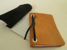 Picture of Easy Leather Mini Notepads- make with homemade paper and leftover material for a free notepad