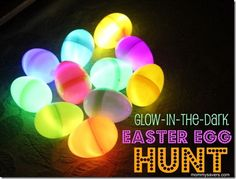Awesome glow in the dark easter egg hunt idea for a toddler, might be easier for them to find the eggs?
