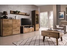 Nádherný dubový nábytek do interiéru obývacího pokoje. Kolekce Dallas v odstínu dub pálený. Beautiful Color Combinations, Rattan, Dallas, Inspiration, Furniture, Home Decor, Resume Templates, Texas, Collections