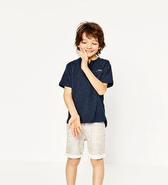 ZARA - KIDS - BASIC BUTTON NECK T-SHIRT