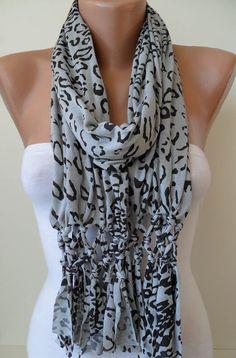 Light Grey and Black Leopard Scarf by SwedishShop on Etsy, $17.90