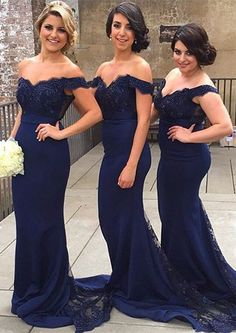 Sexy Off-the-shoulder Mermaid Lace Bridesmaid Dress 2016 Sweep Train,navy blue…