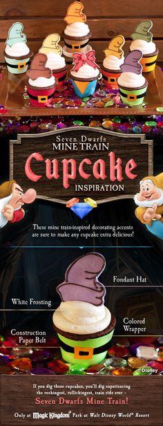 Seven Dwarfs Mine Train cupcake inspiration! #DIY #tutorial #WaltDisneyWorld #SnowWhite