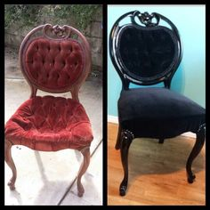 Here is a before and after of my weekend project. Refurbing two chairs we had sitting in the garage for years that belonged to matts great grandma. Had to replace everything down to the webbing and foam which was completely powdered. Now we have 2 beautiful black velvet chairs