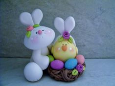 Bunny  Chick  Nest  Polymer Clay  Easter  by countrycupboardclay