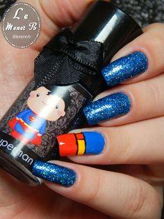 #nails #nail #fashion #style #superman #cute #beauty #beautiful #superhomem #pretty #girl #girls #stylish #sparkles #styles #gliter #nailart #art #opi #manofsteel #essie #unhas #preto #branco #rosa #love #shiny #polish #nailpolish #blue