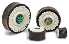 Abalone Inlay on Areng Wood Plug Organic Body Jewelry 10mm up to 36mm - Price Per 1