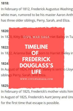 Timeline of Frederick Douglass's Life School Projects, Projects For Kids, Team Challenges, Frederick Douglass, The Orator, American Civil War, White Man, Black History