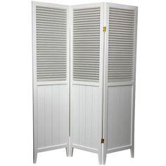 Beadboard White Three Panel Room Divider Oriental Unlimited Screens & Panels Screens & Roo