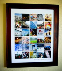 Create a collage of all the different pics from a family memory day (vacation, hike, etc) and put it in one frame.