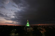 Sunset over the Baylor University campus in Waco, Texas