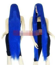 34.20$  Buy here - https://alitems.com/g/1e8d114494b01f4c715516525dc3e8/?i=5&ulp=https%3A%2F%2Fwww.aliexpress.com%2Fitem%2FAnime-Party-Peluca-Long-Bangs-Blue-Straight-Cosplay-Wig-for-women-wig%2F32636782384.html - Anime Party Peluca Long Bangs Blue Straight Cosplay Wig for women wig
