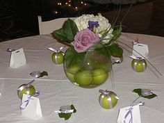 Centerpiece: green and purple using limes or apples