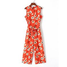 Danhjin Women Casual Summer Flower Printed V Neck Side Knotted Playsuit Jumpsuit Green