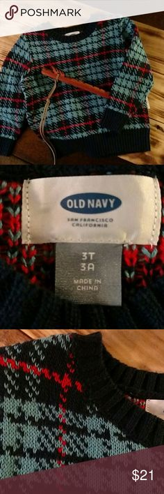 "BNWT OLD NAVY LITTLE BOY'S CREW NECK SWEATER NWT! Such a wonderful pattern and colors on this warm sweater for your stylish little man!  Shades of Navy, Cyan Blue, and Red. 100% cotton! Size is 3T (36""-39"" & 33-36 lbs/91-99 cm & 15-16 kg). This is a very soft little sweater!! Originally $26.94. Old Navy Shirts & Tops Sweaters"