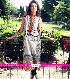 K4-B of Komal Kurti Collection 2014 Vol. 3 by LSM Fabrics is a perfectly designed for summer season. Front of kurti has embroidery on light gray colored fabric. Back of kurti is printed with black color along with printed sleeves.