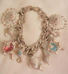Fabulous vintage white washed sea theme crystal fish Aqua pink seahorse shell charm Bracelet