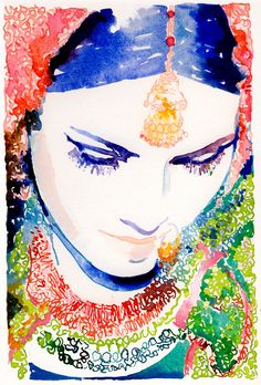 Watercolor Fashion Illustration, Print from Original Painting, x titled: Indian Bride by Cate Parr Watercolor Portrait Painting, Watercolor Fashion, Watercolor Print, Watercolor Illustration, Watercolour Drawings, Watercolor Water, Watercolor Ideas, Watercolor Wedding, Painting Art