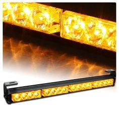 """09006 video  18"""" 7 Flashing Mode Emergency Warning Traffic Advisor Vehicle Strobe LED Light Bar-Amber for all 12V Vehicles"""