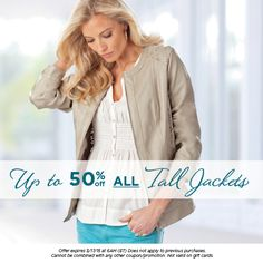 BIG discounts on ALL tall jackets this week, with prices slashed by up to 50%. Many styles available, and all luxuriously tall-fit as standard!