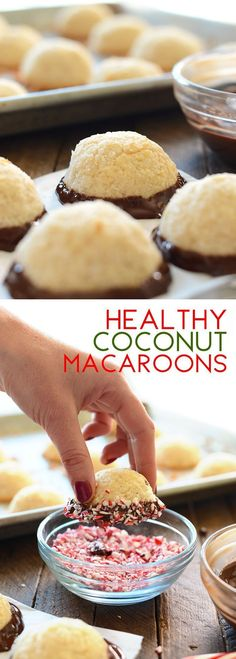 Healthy Coconut Macaroons Dipped in Chocolate and Peppermint - a healthy Christmas cookie your family will love! All clean eating ingredients are used for this easy and healthy dessert recipe. Pin now to make these healthy macaroons later. Low Carb Dessert, Paleo Dessert, Healthy Dessert Recipes, Weight Watcher Desserts, Slow Cooker Desserts, Healthy Sweets, Healthy Baking, Healthy Food, Holiday Baking