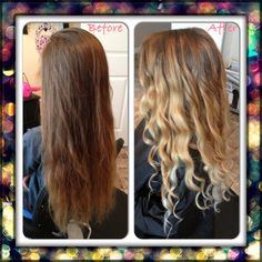 Before and after blonde ombre soft gradient transition on long hair with curls by @Ginger Boardman