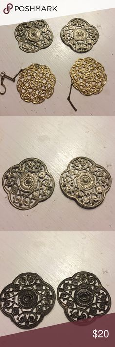"""Earrings Two pairs of """"broken"""" earrings. The hooks (?) fell off on 3 of the 4 thought perhaps someone who is handy/makes jewelry might be interested in them.  Both practically brand new and in beautiful shape. Bought from boutique online Jewelry Earrings"""