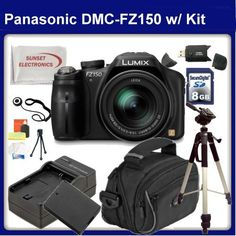 Panasonic DMC-FZ150 Digital Camera (Black) With SSE Gift Package: Includes 8GB SDHC Memory Card, SD Card Reader, Soft Carrying Case Full Size Tripod, Replacement Battery, Travel Charger and much more... by Panasonic. $648.99. This Kit Includes:  1- Panasonic DMC-FZ150 Digital Camera 1- 8GB SDHC Memory Card 1- SD Card Reader 1- Lens Cap Holder 1- Full Size Tripod With carrying Case 1- Soft Carrying Case 1- Extended Life Replacement Battery Pack 1- External Rapid Travel ...