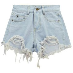 Chicnova Fashion Raw Hem Distressed Denim Shorts (850 RUB) ❤ liked on Polyvore featuring shorts, bottoms, destroyed shorts, high-waisted shorts, distressed shorts, torn shorts and high waisted ripped shorts