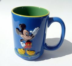MICKEY MOUSE Disney World Coffee Mug in Vibrant Primary Colors with a Protruding Waving Iconic Mickey on Both Sides