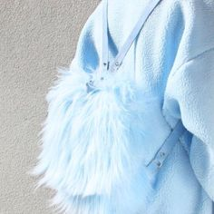 Baby blue pastel faux fur fluffy marabou feather rucksack backpack bag cute feathers jumper kawaii