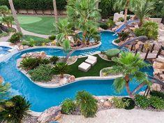 This is how you live the outdoor life in Las Vegas! Backyard Pool Designs, Swimming Pools Backyard, Swimming Pool Designs, Pool Landscaping, Backyard Lazy River, Lazy River Pool, Strand Pool, Small Pool Design, Luxury Pools