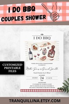 I do bbq picnic couples shower invitation printable. For more info click on TITLE or follow this link: tranquillina.etsy.com #invitation #idobbq #bbqwedding #couplesshower #bbqengagement #engagementparty #picnic #barbecue #weddingshower
