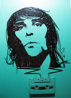 Ian Brown of Stone Roses, cassette on canvas, 2008 Cassette Tape Art, Ghost In The Machine, Tape Painting, Stone Roses, Funky Art, Celebrity Portraits, Beautiful Artwork, American Artists, Art Google