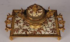 Pierre-ferdinand Duvinage - Encrier En Bronze Doré, Ivoire Cloisonné Et Maqueterie De Bois, MDM Antiquités, Proantic