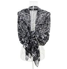 WENSLI - Women Geometrical Shape Fashion Scarf Black White Scarf. Materials: 100% polyester 15 momme georgette. Size : 29-by-70 inches, can be used as wraps, shawl or decoration of bag. Touch & Feel: Voile scarf, Soft and Warm, never too hot or too cold, perfect for all seasons. Use: Collate well with clothes, fashion and stylish. Can be worn around your neck, head, waist, or hair as well as on a hat or handbag. Nice choice for air condition room. Suitable in Different Occasions- Party…