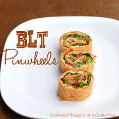 BLT Pinwheels or Wraps    Ingredients:  4 oz cream cheese, softened  1/2 cup mayo   1/4 cup finely chopped sundried tomatoes in oil  6 slices of crisp bacon, crumbled  3 spinach or tomato flavored wrap style tortilla (the tomato ones were delicious)  1 cup chopped seeded tomatoes   1 cup shredded romaine