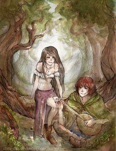 Kvothe and Denna - The Name of Wind by Chibi-Rina.deviantart.com (Kingkiller Chronicle Fan? VISIT eoliantavern.com)