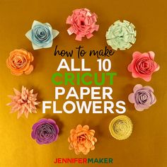 How to Make Cricut Paper Flowers from the Flower Shoppe Cartridge -- Complete Step-by-Step Instructions for Assembly! diy cricut How to Make Cricut Paper Flowers (All - Jennifer Maker How To Make Paper Flowers, Large Paper Flowers, Diy Flowers, Flower Diy, Rolled Paper Flowers, Flower From Paper, Paper Flowers For Wedding, Flower Wall, Scrapbook Paper Flowers
