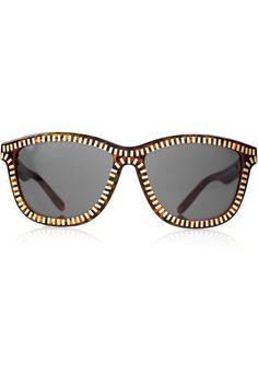 Gold Zip Tortoise D-frame Sunglasses by Alexander Wang #Sunglasses #Alexander_Wang