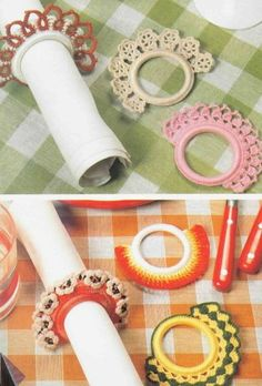 Crocheted napkin rings with instructions
