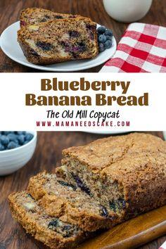 Blueberry Banana Bread (The Old Mill Copycat) - Mama Needs Cake Breakfast Bread Recipes, Easy Bread Recipes, Banana Bread Recipes, Baking Recipes, Dessert Recipes, Brunch Recipes, Sour Cream Pound Cake, Sour Cream Coffee Cake, Blueberry Banana Bread