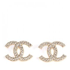 CHANEL Crystal CC Earrings Gold NEW ❤ liked on Polyvore featuring jewelry, earrings, crystal jewellery, gold druzy earrings, drusy earrings, gold jewelry and gold jewellery