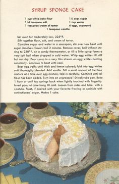 Vintage Recipes, 1950s Cakes, Syrup Sponge Cake.